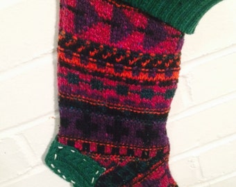 SALE!! Patchwork Recycled eco christmas stocking upcycled green