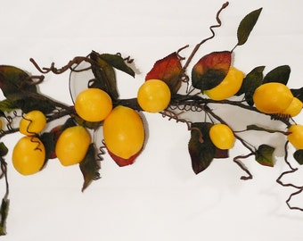Artificial Fruit, Lemons, Spray or Swag, 13 Yellow Lemons in Varying Sizes and Approximately 28 Wired Leaves