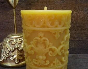 """100% Beeswax """"Fleur de Lis"""" Pillar Candle"""