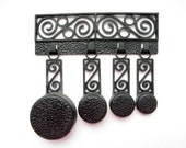 Vintage Measuring Spoons Set of 4 Black Plastic Faux Filigree Mini Pans w/ Hanger Retro Kitchen
