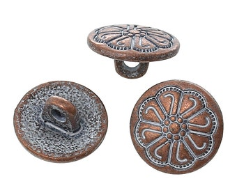"""10 Copper Shank Buttons, 12mm (1/2"""") diameter, antiqued with a WHITE paint wash, shabby chic but0192"""