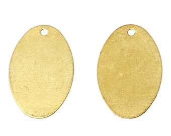 "20 Brass Stamping Blanks, Charms, OVAL shape 3/4"" x 1/2"", 26 gauge msb0216"