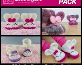 Olivia the Bunny Booties Pack - PDF Crochet Patterns - Baby, Toddler and Child sizes - Baby Newborn Slippers