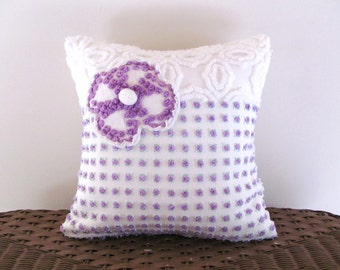 lilac cushion cover, PURPLE ROSEBUDS, vintage chenille pillow, 14 X 14 inches, lavender throw pillow, purple couch cushion, cottage style