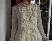 jacket cardigan lace romantic handmade crochet jumper romantic embroidered ruffled double-breasted  ready to ship by golden yarn