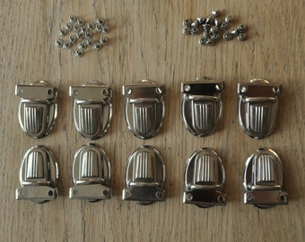 10 Sets Purse Tongue Clasps, Nickel Press Lock Thumb Catches for Wallets, Purses, Clutches, Bags and you get 42 rivets for fixing