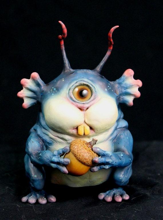 OOAK Sculpture Cyclops Squirrel Monster Creature Frog