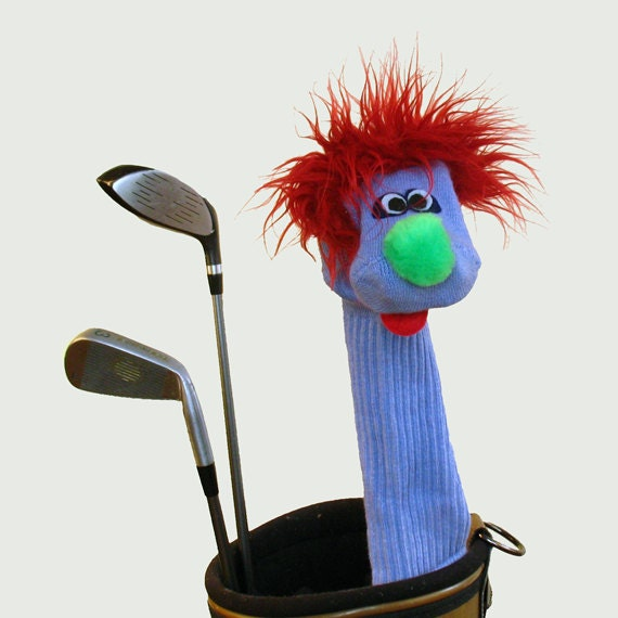 SALE Handmade Real Sock Puppet Style Golf Club Cover