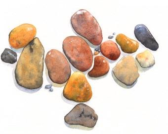 Beach Rocks ORIGINAL watercolor painting