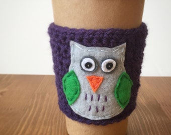Owl Coffee Cozy, Coffee cup cozy, Coffee sleeve by The Cozy Project