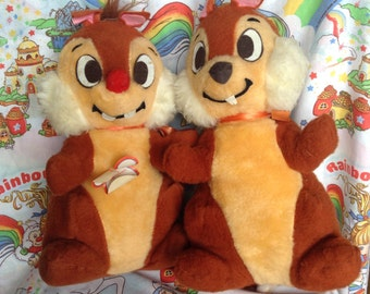 RARE LARGE Vintage Disney Chip & Dale Stuffed Animal Pair