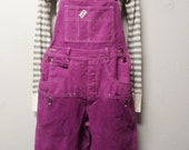 Vintage 80's Guess Violet Hand Dyed Denim & Corduroy  Overalls - Size Small