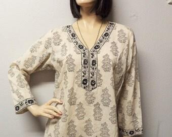 Vtg Indian Ecru cotton Tunic Top Dress--hand blocked print  Sz -Medium-large