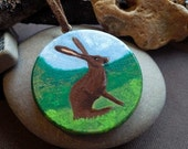 Brown Hare Hand Painted Wood Pendant