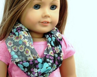 Infinity Scarf Turquoise and Purple Dasiy Flower Chiffon Fits 18 Inch Fashion Dolls to Match Girls Scarf Handmade by Thimbledoodle