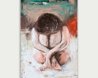 Original Figure Painting, Abstract Art, Modern Painting, Oil on canvas, Impasto, Home decor