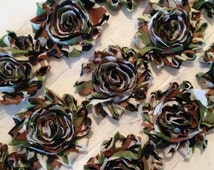 "Camo Shabby Trim Shabby Rose Trim 2.5"" Shabby Flower Shabby Chiffon Flowers Camouflage Printed Shabby Trim Wholesale Rosette trim 6cm yard"