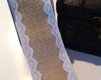 "2.5"" Natural burlap lace edge ribbon trim burlap with white lace edge trim 2 1/2"" wide trim vintage burlap ribbon wholesale burlap RDLB26212"