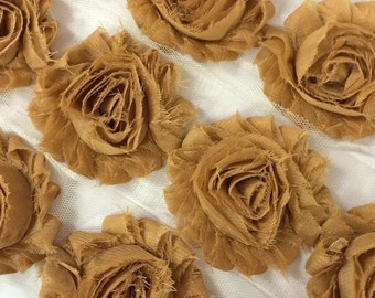 "Tan Beige Shabby Rose Trim 2.5"" Shabby Flowers Shabby Chiffon Flowers Solid Shabby Chic Trim Wholesale Rosette trim 6cm yard #108"