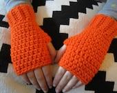 Kids Orange Fingerless Gloves