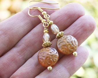 Czech Brocade Earrings - Coppery Gold Earrings - Gold Plated, czech earrings, boho earrings, boho jewelry, bohemian earrings, dainty