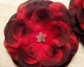 Red flower hair clip with rhinestone center, photo prop, wedding, bridal, flower girl