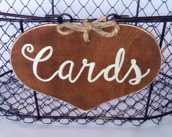 "Large Rustic Wedding ""Cards"" Sign  for Your Rustic, Country, Shabby Chic Wedding- or  birthdays, anniversaries, graduation. Ready to Ship."