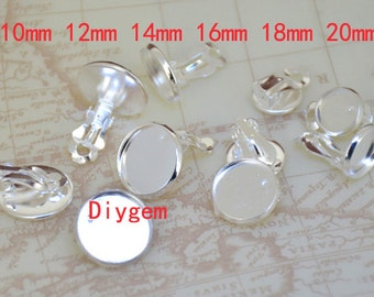 10pcs Ear Clip Stud Tray Silver Plated Bronze Ear Tray10mm /12mm/14mm/16mm/18mm/20mm Circle Cabochon smooth Pad Ear Base Set Fitting EarStud