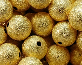 Gold Stardust covered Brass 12mm Beads- 10