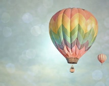 Hot Air Balloon Photography Print 12x18 Fine Art Dreamy New Mexico Pink Light Blue Yellow Whimsical Sky Landscape Photography Print.