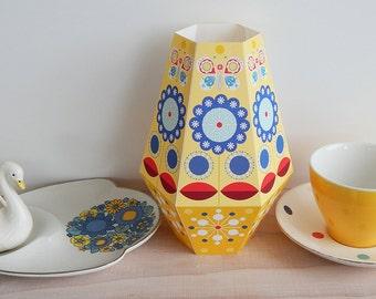yellow, printable, Paper vase, Ellen Giggenbach