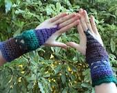 Crochet Purple, Blue and Green Crochet Arm Warmers
