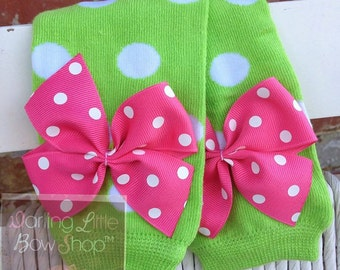 Baby Girl Leg Warmers -- lime green polka dot bow leg warmers -- lime green and hot pink