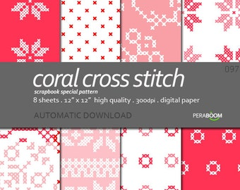 Red Digital Paper - Red Scrapbooking Paper - Instant Download - Red cross stitch - Ethnic patterns
