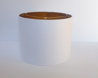 Drum Lamp Shade in White Linen Fabric with Metallic Gold Lining