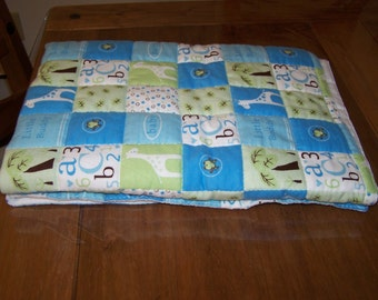 Blue and Green Hand Quilted Flannel Baby Blanket