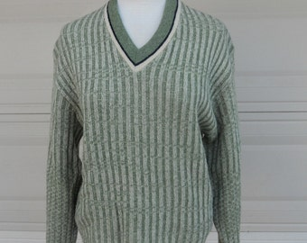 Vintage 60's Men's Wool Striped Pullover Sweater by Pebble Beach of California