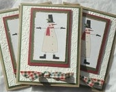 Snowman and Snowflakes Notecards Christmas Cards