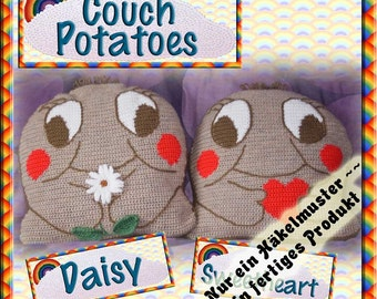 PDF Crochet Pattern Daisy & Sweetheart Couch Potato Cushion Covers