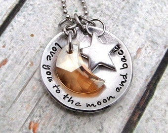 Love You to the Moon and Back Necklace - Hand Stamped Jewelry - Mom Necklace - Swarovski Crystal Moon and Stainless Steel Star (101)