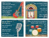 May God Bless and Keep You Always Nursery Decor for Boy Room Rock and Roll Theme, Music Art Guitar Drums Juke Box Bob Dylan Lily Cole