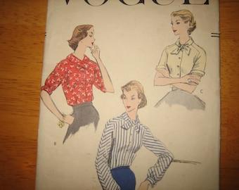 Vintage VOGUE Pattern 8992 Misses' Blouse   1956  Mostly Uncut