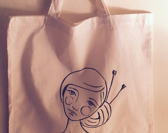 Knitting girl tote/bag/cotton canvas original design and hand painting one of a kind India ink stripes yarn bun and knitting needles