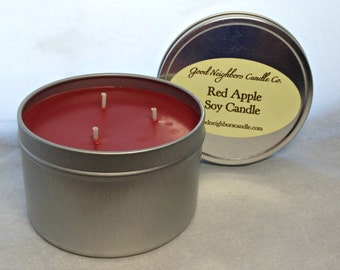 Soy Candle, Red Apple, Three Wick 16 ounce tin, Fresh MacIntosh Type Scent