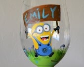Minion Hand Painted Personalized Wine Glass Dispicable Me 2 Pixar Minions