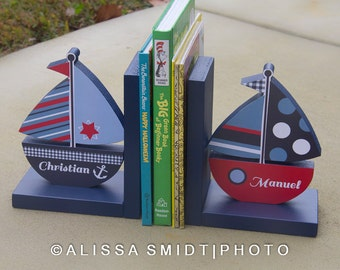 Sailboat Bookends, Custom Designed - Custom Created to Coordinate with Your Decor or Nursery Letters (wooden sailboat, nautical, blue, red)