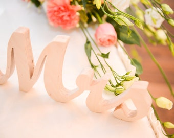 Wedding top table  Mr & Mrs  free standing wooden  letters, signage, unpainted, painted or glitter sign for wedding table decoration