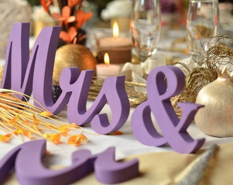 Purple Wedding - top table sign set  Mr  Mrs wood sign. Sweetheart table decor wooden signs.
