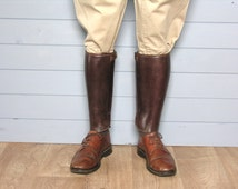 French Leather Gaiters - Leather accessories - Mahogany - Vintage Horse Riding Vintage Equestrian