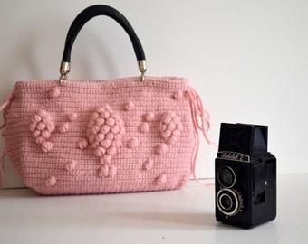 Bag //Handmade Pink Powder Knit Bag, Celebrity Style,Crochet moms bag, fashion Tote Handmade Bag Unique Bag Celebrity Bag Girlfriends